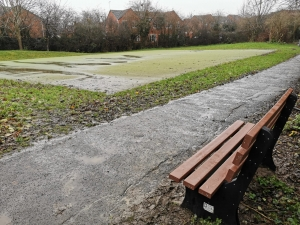 new bench by the astroturf play area at brecon avenue